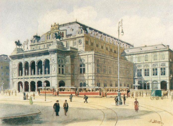 Aquarellen Hitler, Weense Staatsopera, in 1912 door Adolf Hitler geschilderd