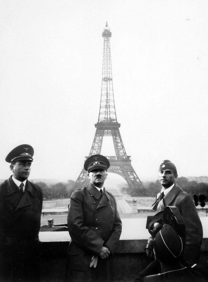 Hitler visits Paris with architect Albert Speer (left) and sculptor Arno Breker (right), 23June 1940