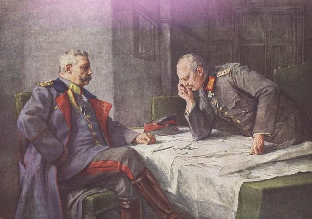 Propagandistische afbeelding van Hindenburg en Ludendorff