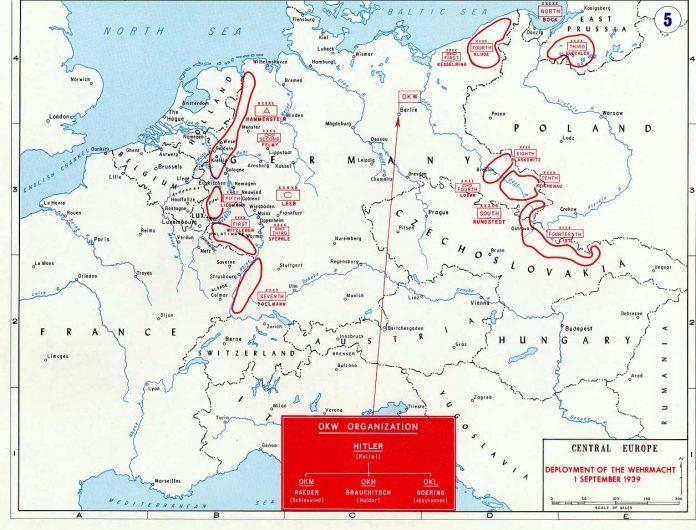 Kaart tweedewereldoorlog Europa situatie 1 september 1939. De deployment Wehrmacht